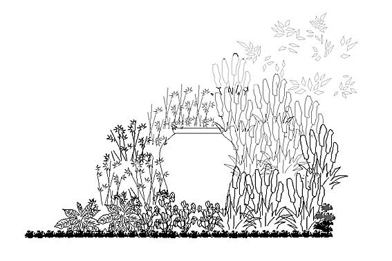 Tegning af delelement i en haveplan